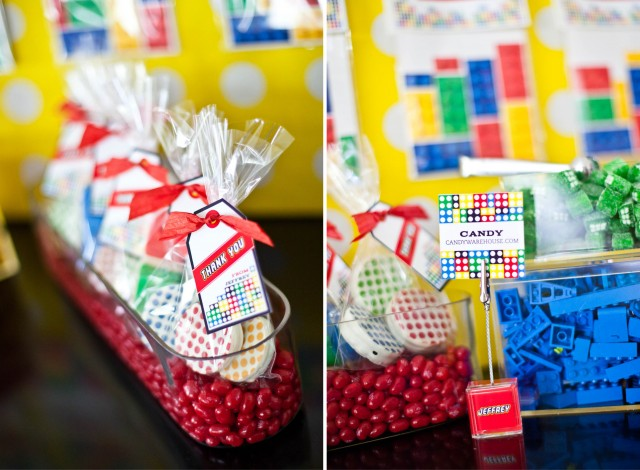candy bar lego favors