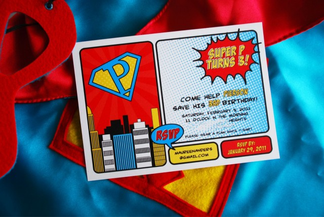 Vintage Super Hero Party Invitation