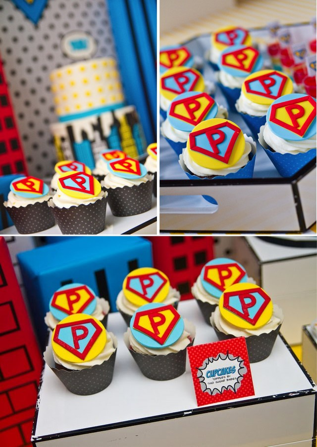 Vintage Super Hero Party Cupcakes