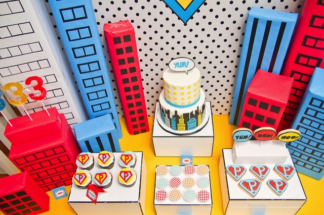 Birds Eye View of Vintage Super Hero Party Desserts
