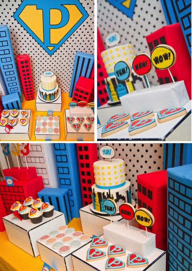View of Vintage Super Hero Party Desserts