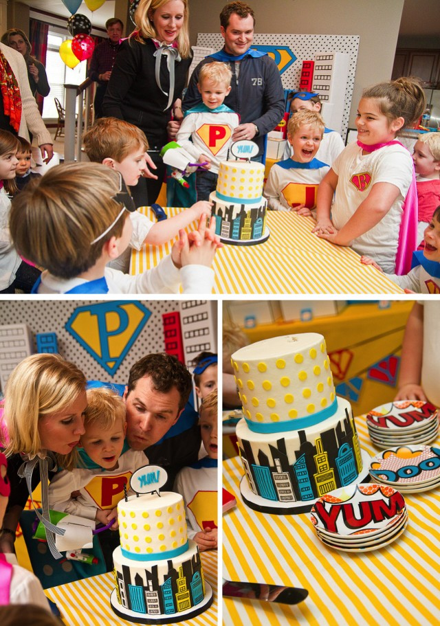 Super hero cake and candles