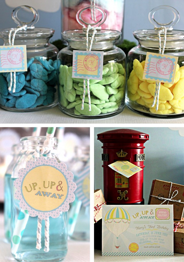 up up and away favor tag and lolly jar label