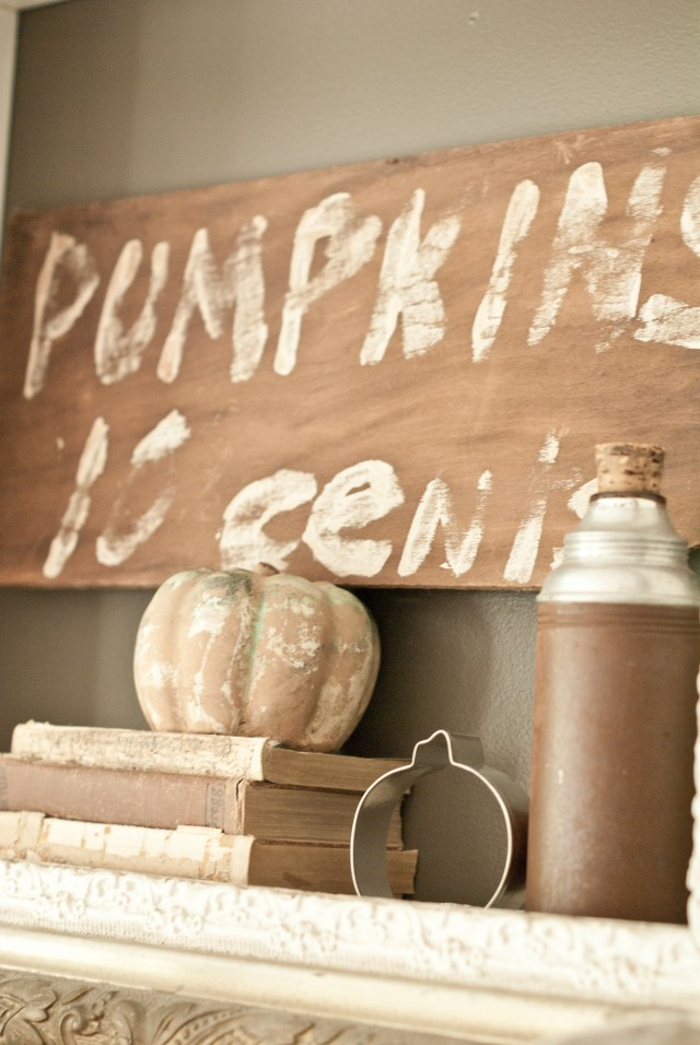 Fall Pumpkin Scene with Stacked Books