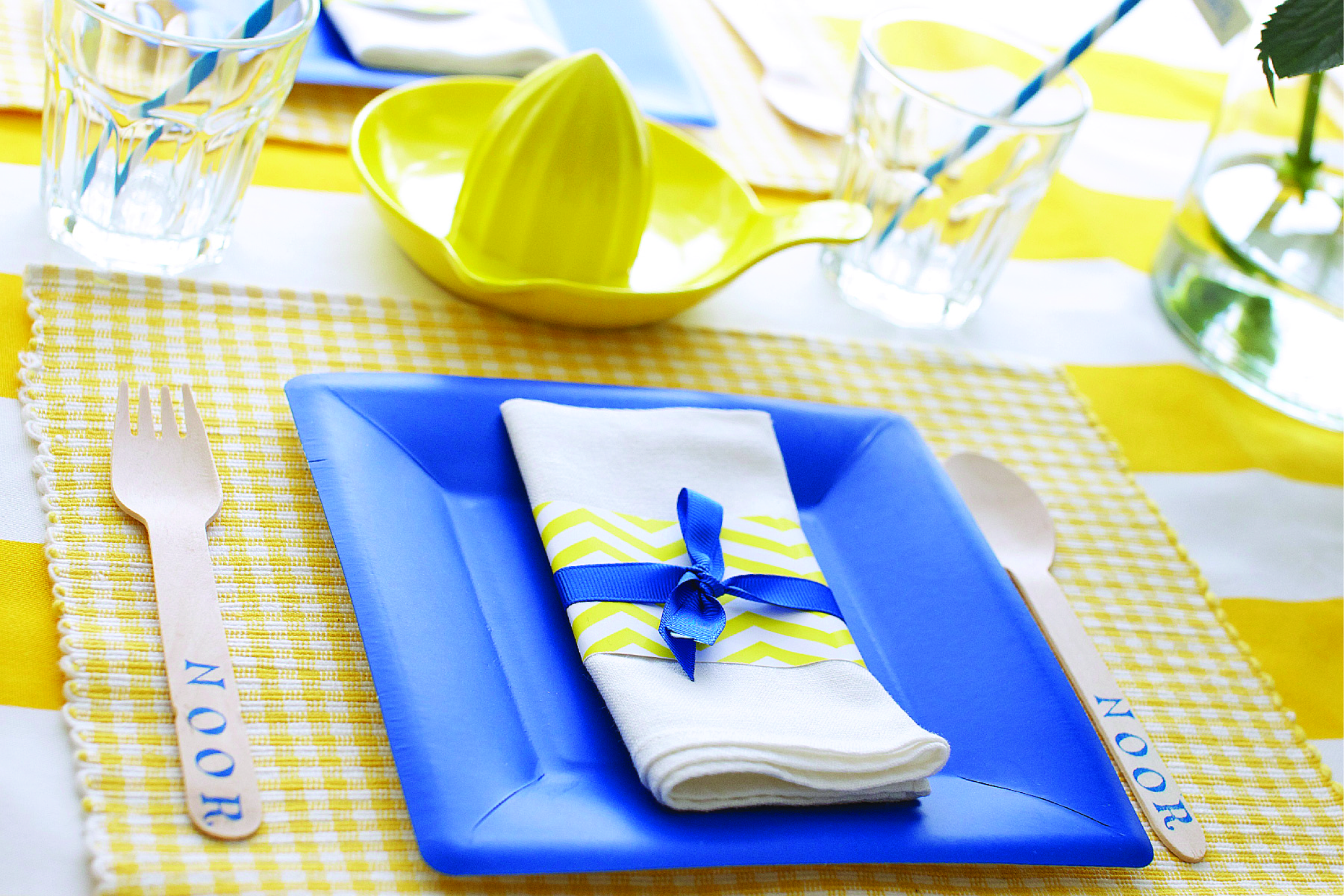 lemonade and lollipops birthday party place setting