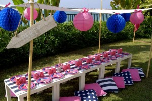 nautical pink preppy party- table scape