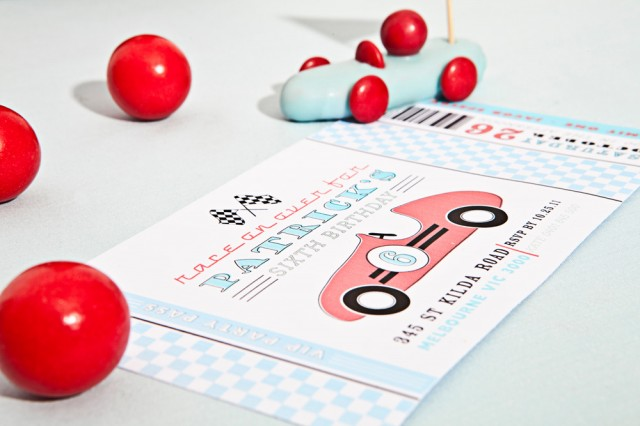 vintage race car printables anders ruff Invitation