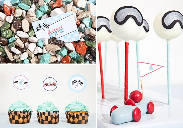 vintage race car party helmet cake pops