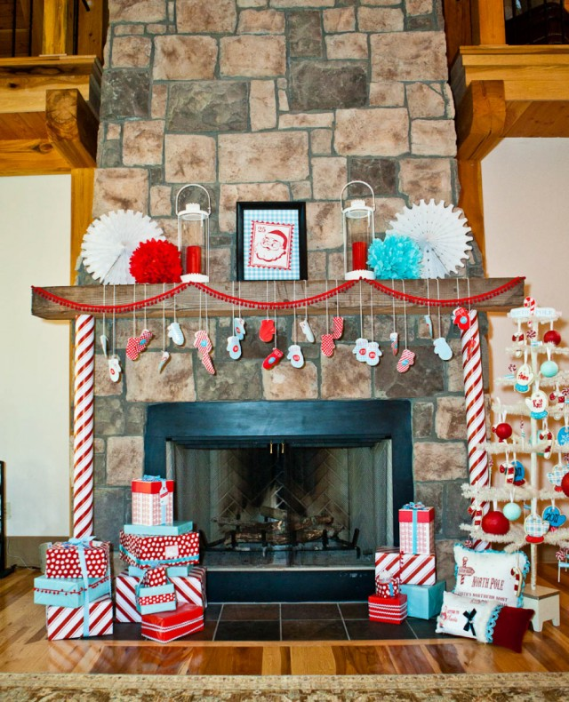 christmas party mantle decorating ideas
