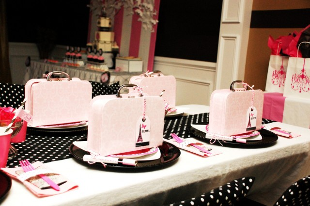 parisian birthday party table display