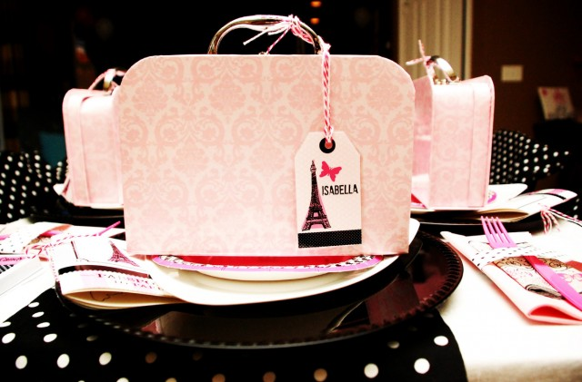 parisian birthday party favor display