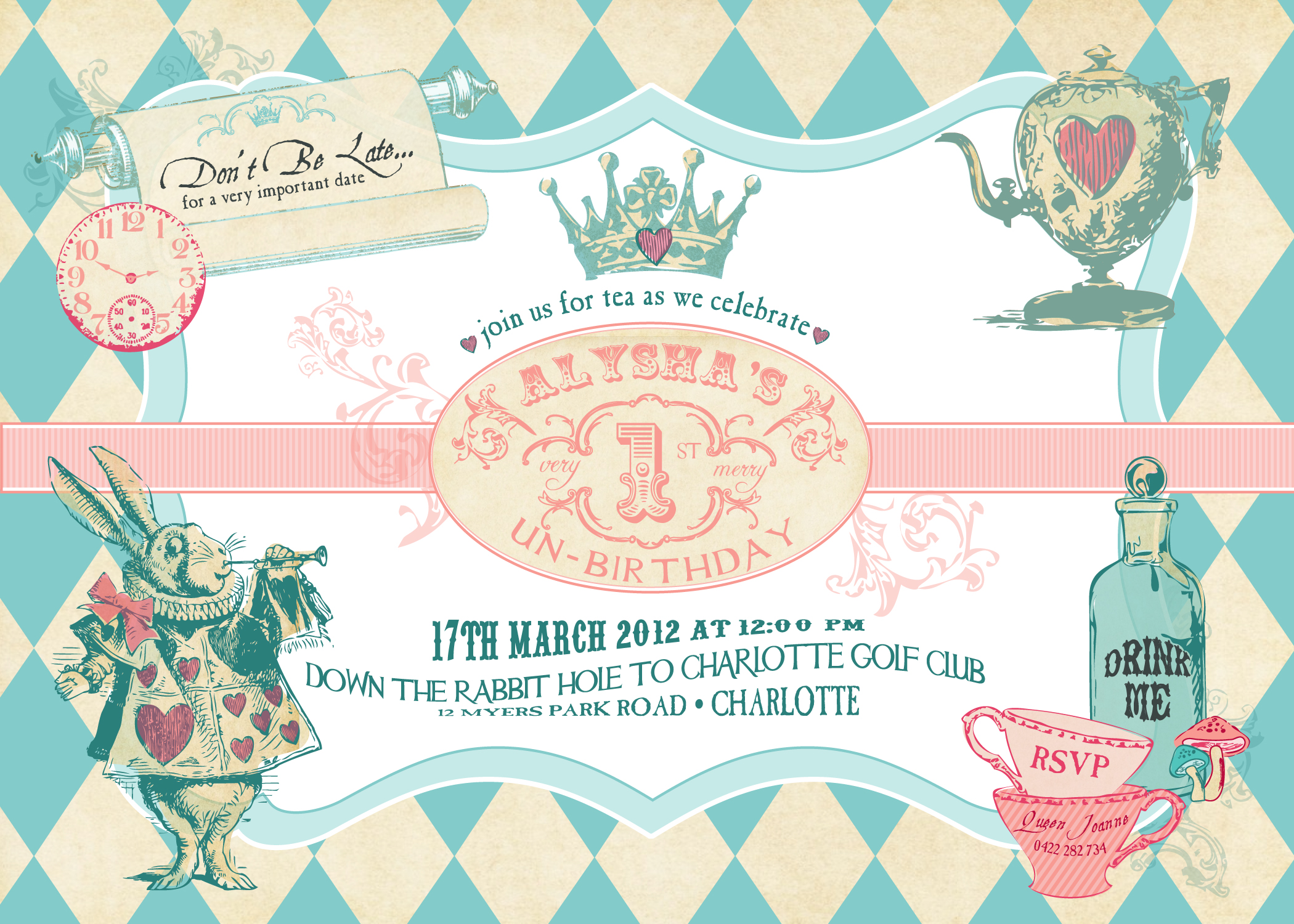 alice in wonderland printable invitation