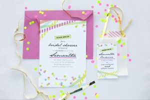 neon bridal shower printable customized invitation