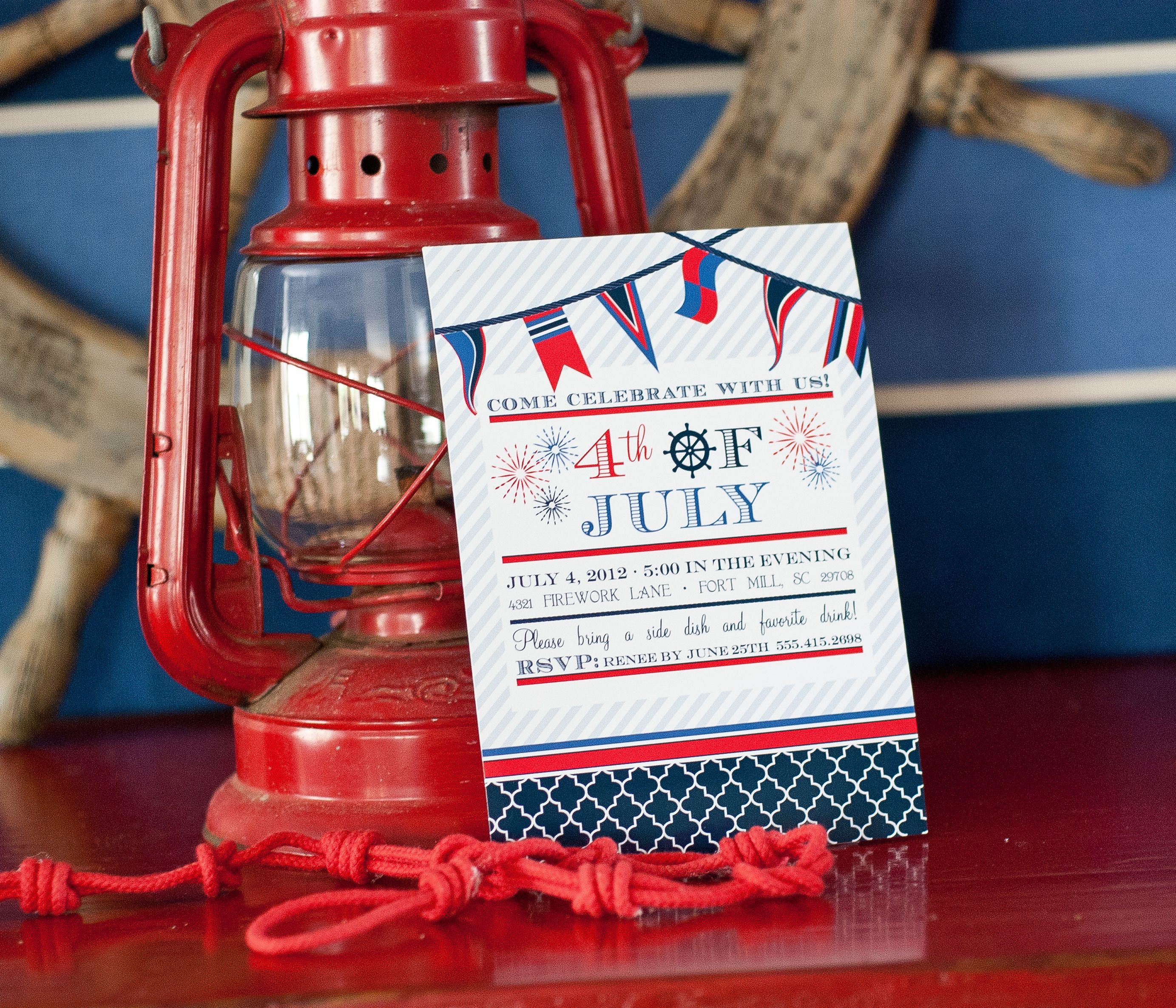 4th of july nautical printable invitation