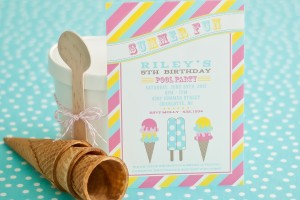 summer fun ice cream party printable invitation