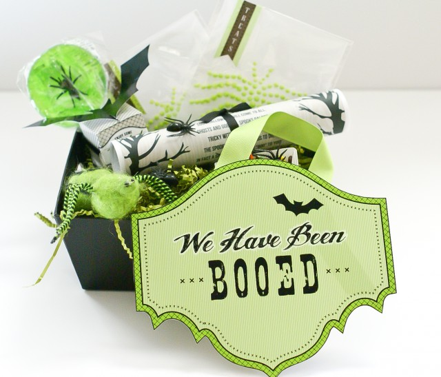 boo sign with goodies