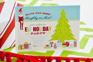 elf on the shelf christmas party printable invitation