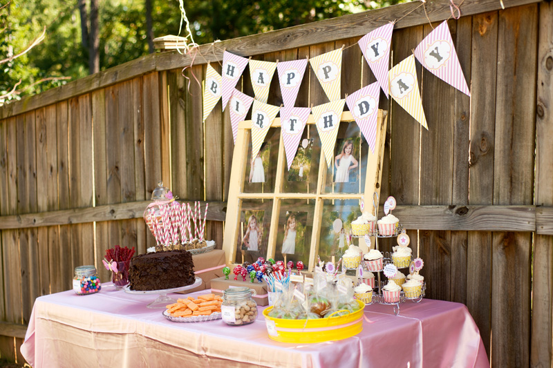vintage circus carnival pink yellow birthday party-31