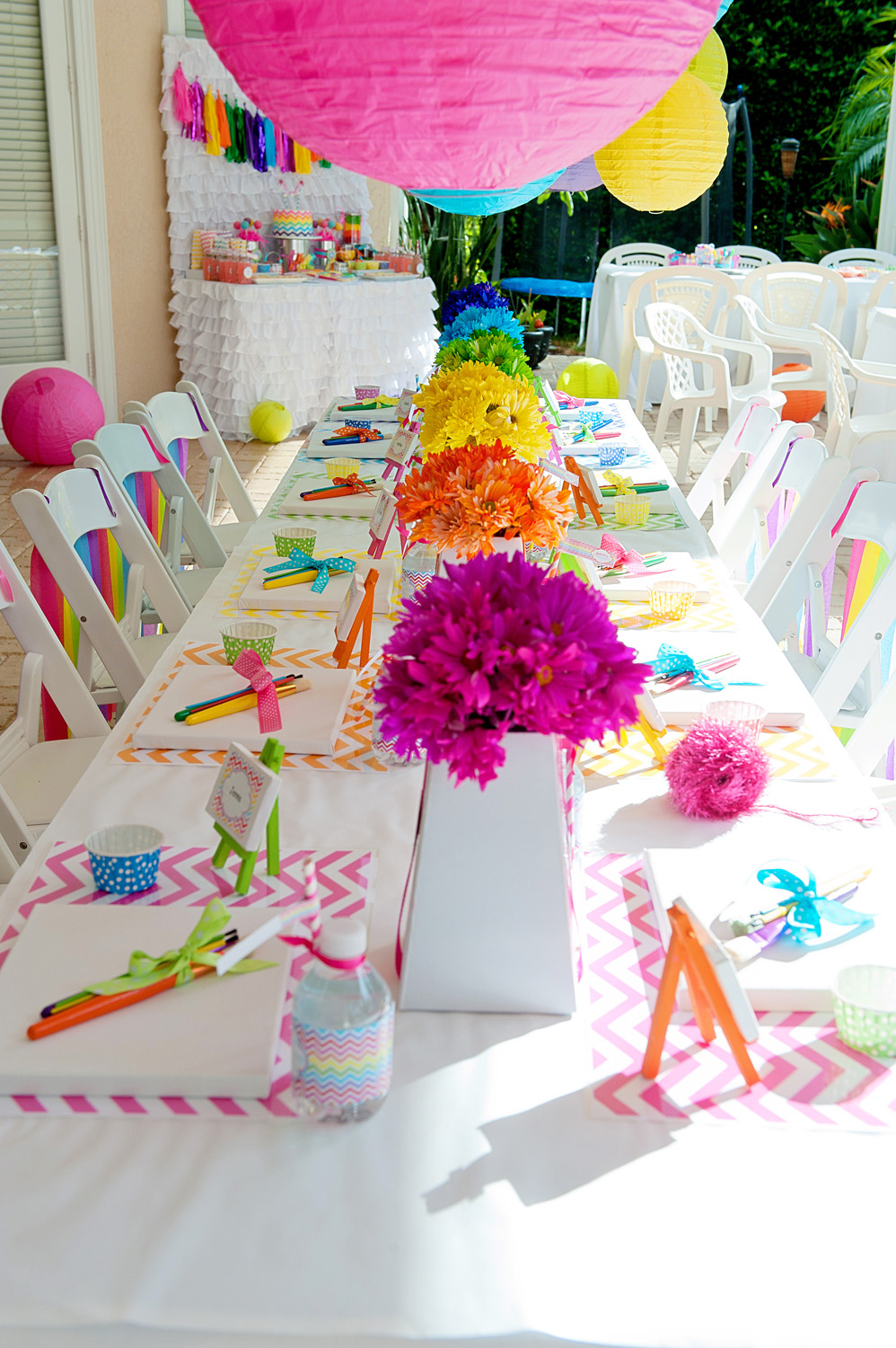 A bright and trendy chevron arts and crafts party anders for Art and craft for decoration