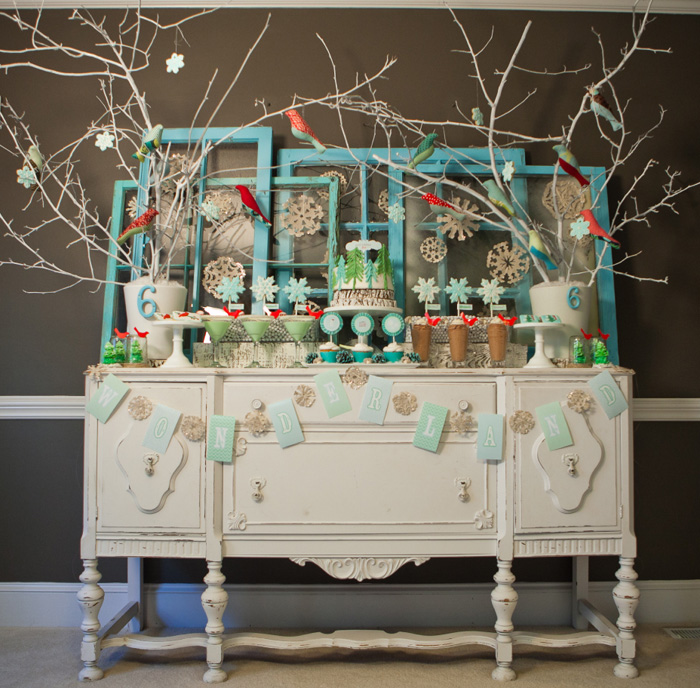 Birthday Table Mountain: Our Whimsical Winter Wonderland Party
