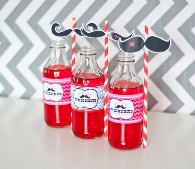 mustache valentines day water bottle wraps