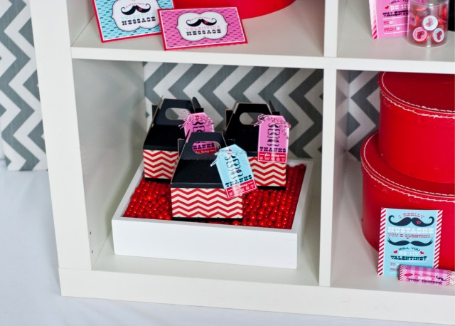 valentines day favor boxes mustache tags
