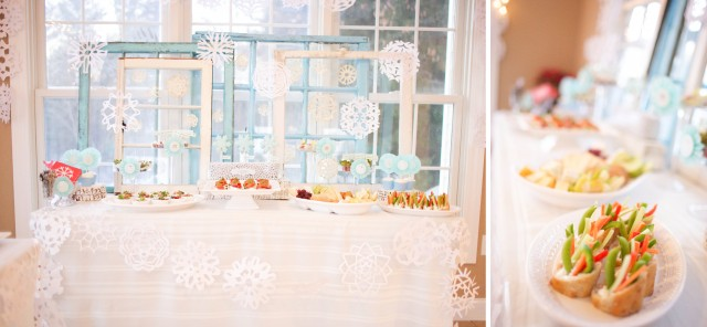winter-wonderland-appetizer-table-windows-snowflakes-garland-cookies-cupcakes