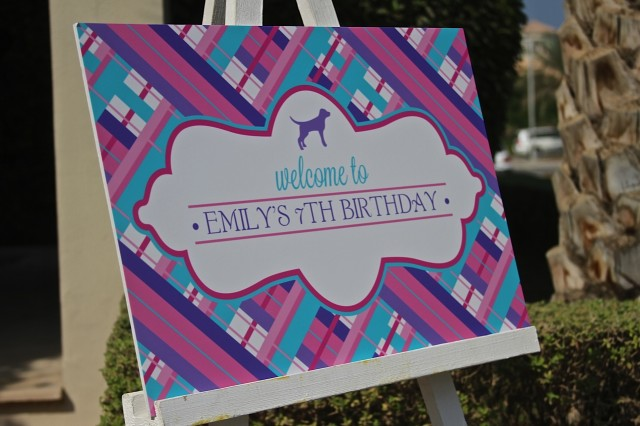Preppy puppy birthday party sign