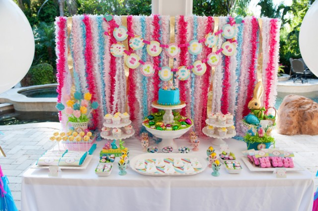 easter party dessert table