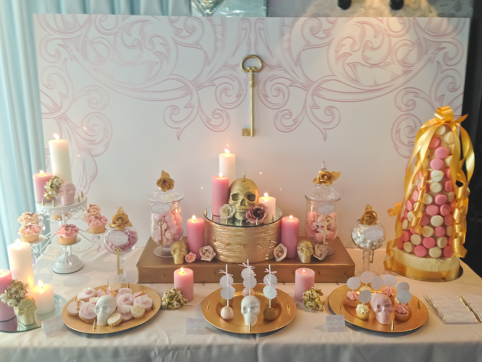 Glam pink and gold 21st birthday with studs and skeletons for 21st bday decoration ideas