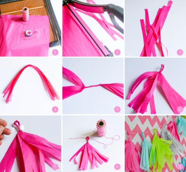 how to make tissue fringe tassle garland