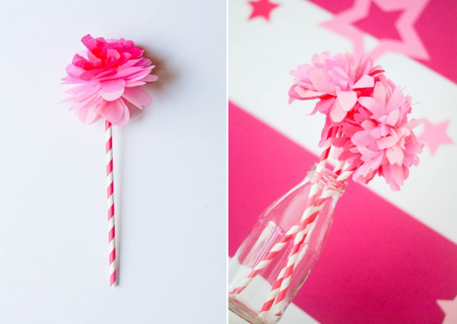 DIY tissue paper flower with straw