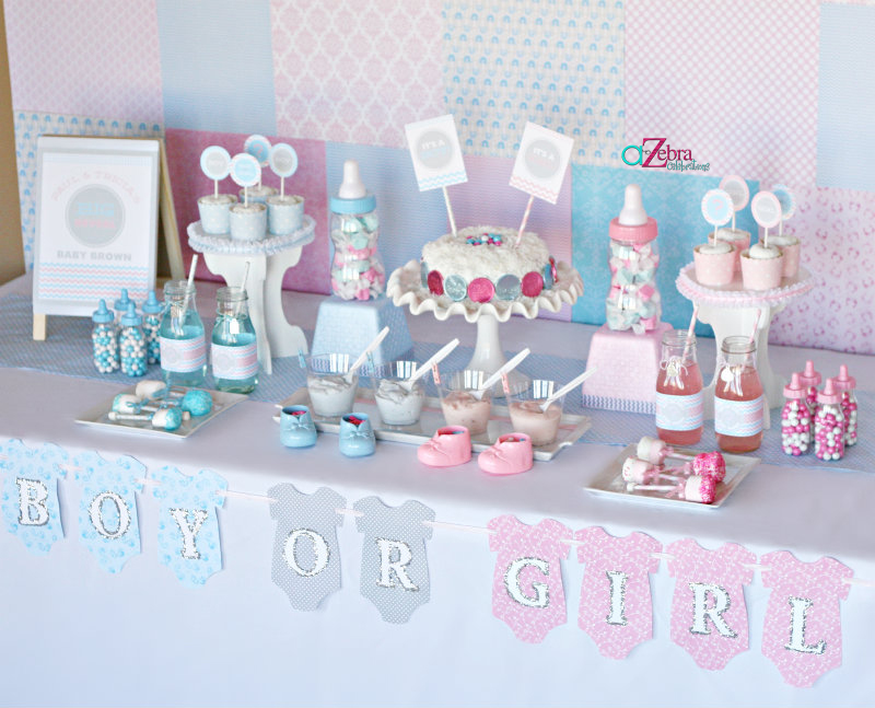 a gender reveal party using chevron stripes and polka. Black Bedroom Furniture Sets. Home Design Ideas