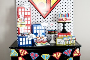 super hero party dessert table