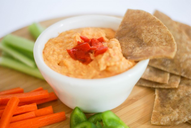 Spicy red pepper hummus with warm tortilla and veggies