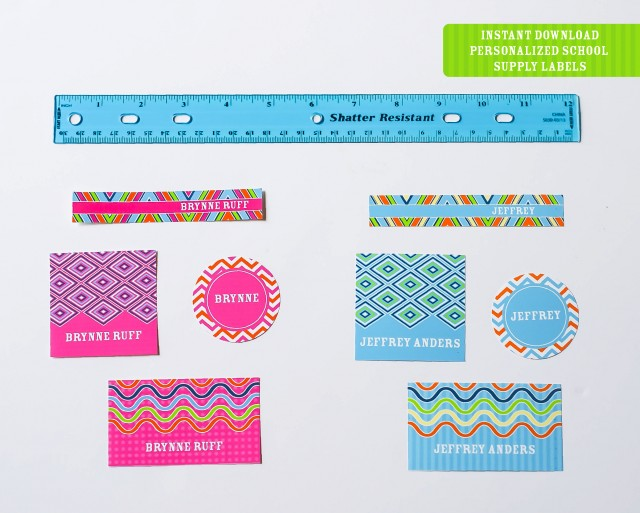 Instant download printable personalized school supply labels