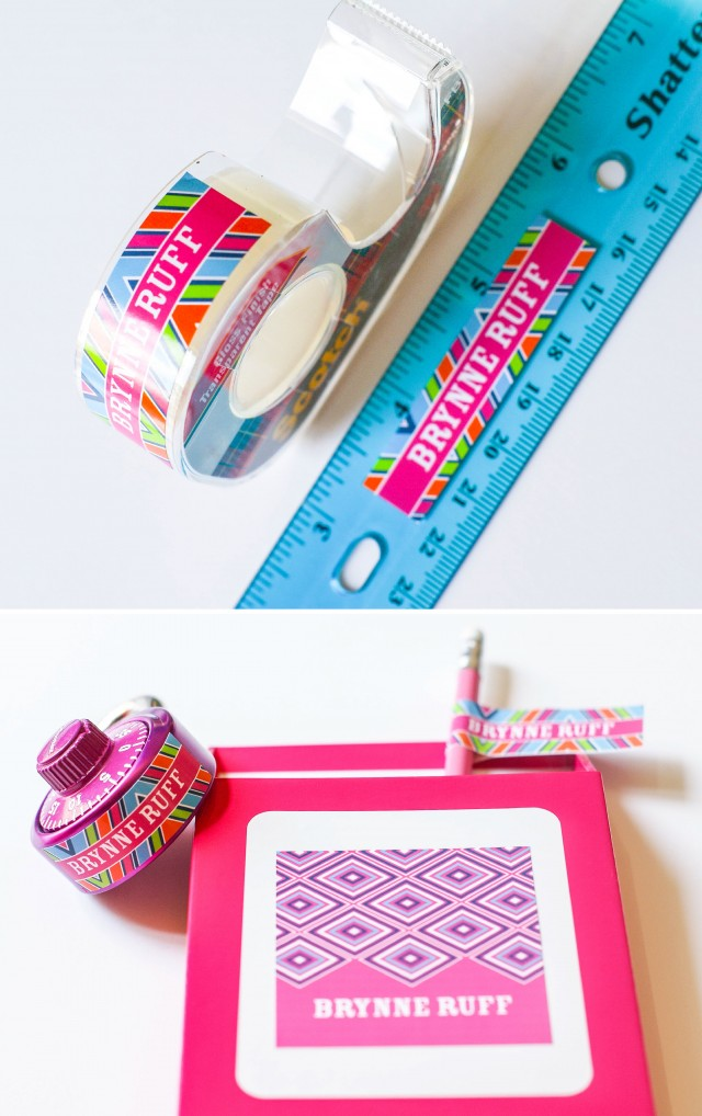 Personalized printable labels for school supplies
