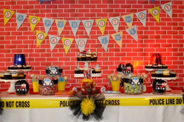 police firetruck party dessert table