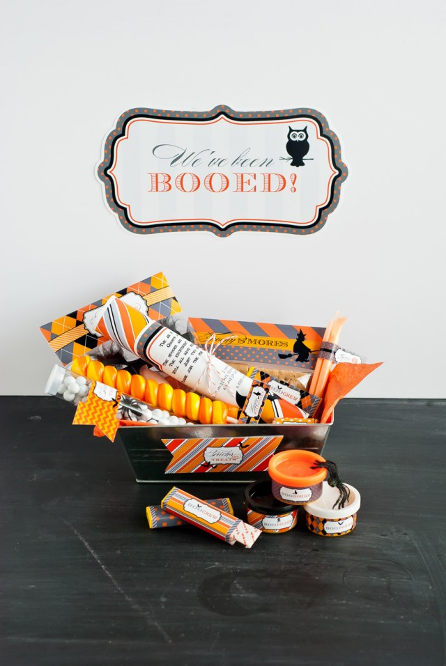 Free printable we've been booed sign and basket