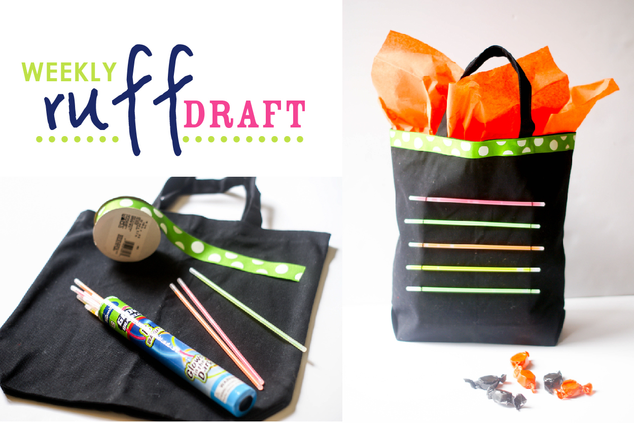 diy glow stick tote for halloween