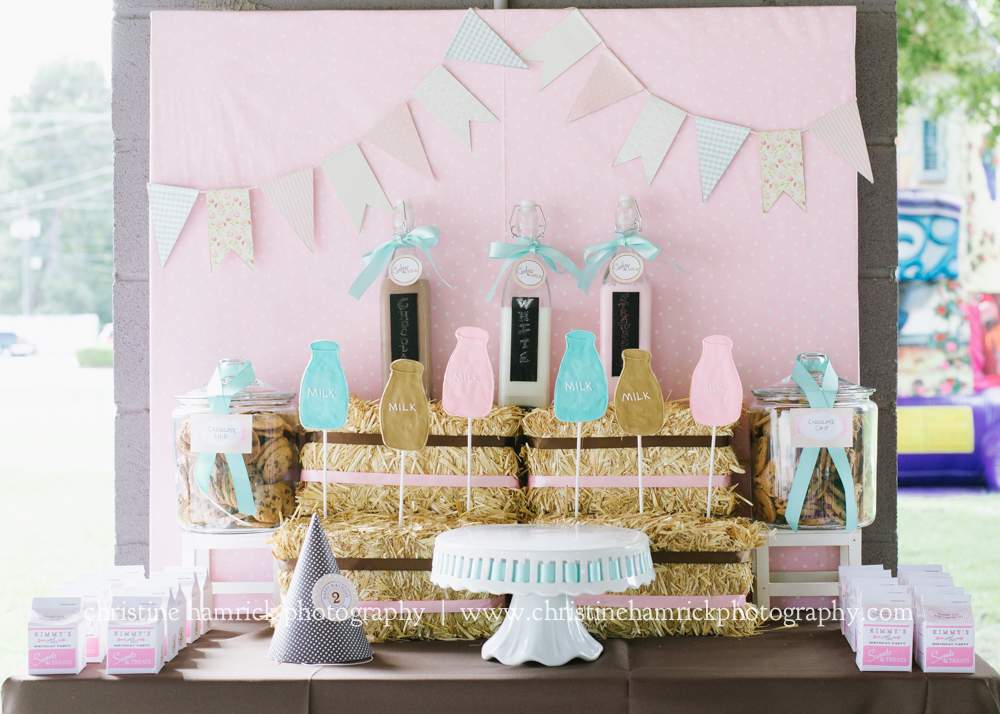girlie milk and cookies party dessert table