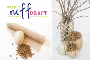 Making DIY burlap acorns