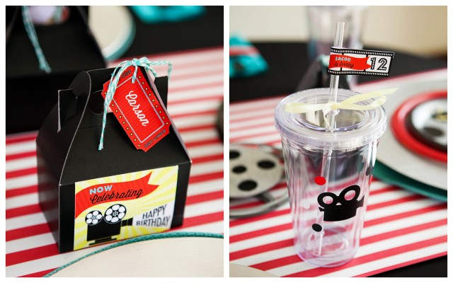 Movie Reel Centerpieces With Tin Movie Reels