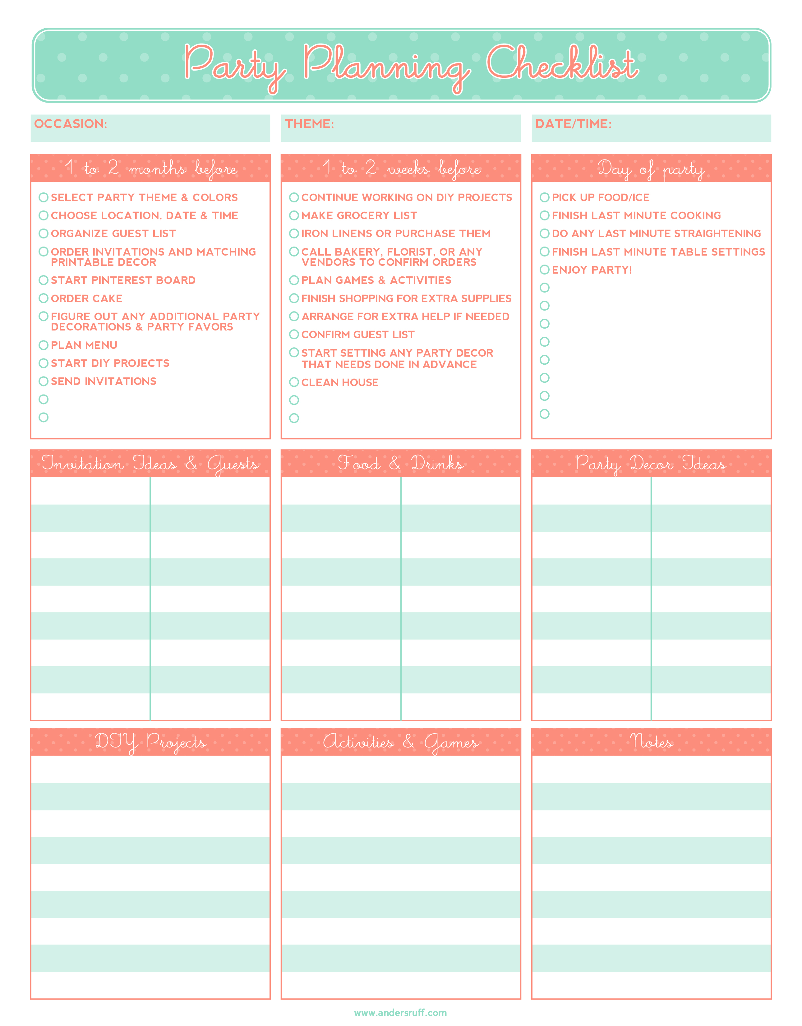 5 Party Planning Templates Excel Xlts