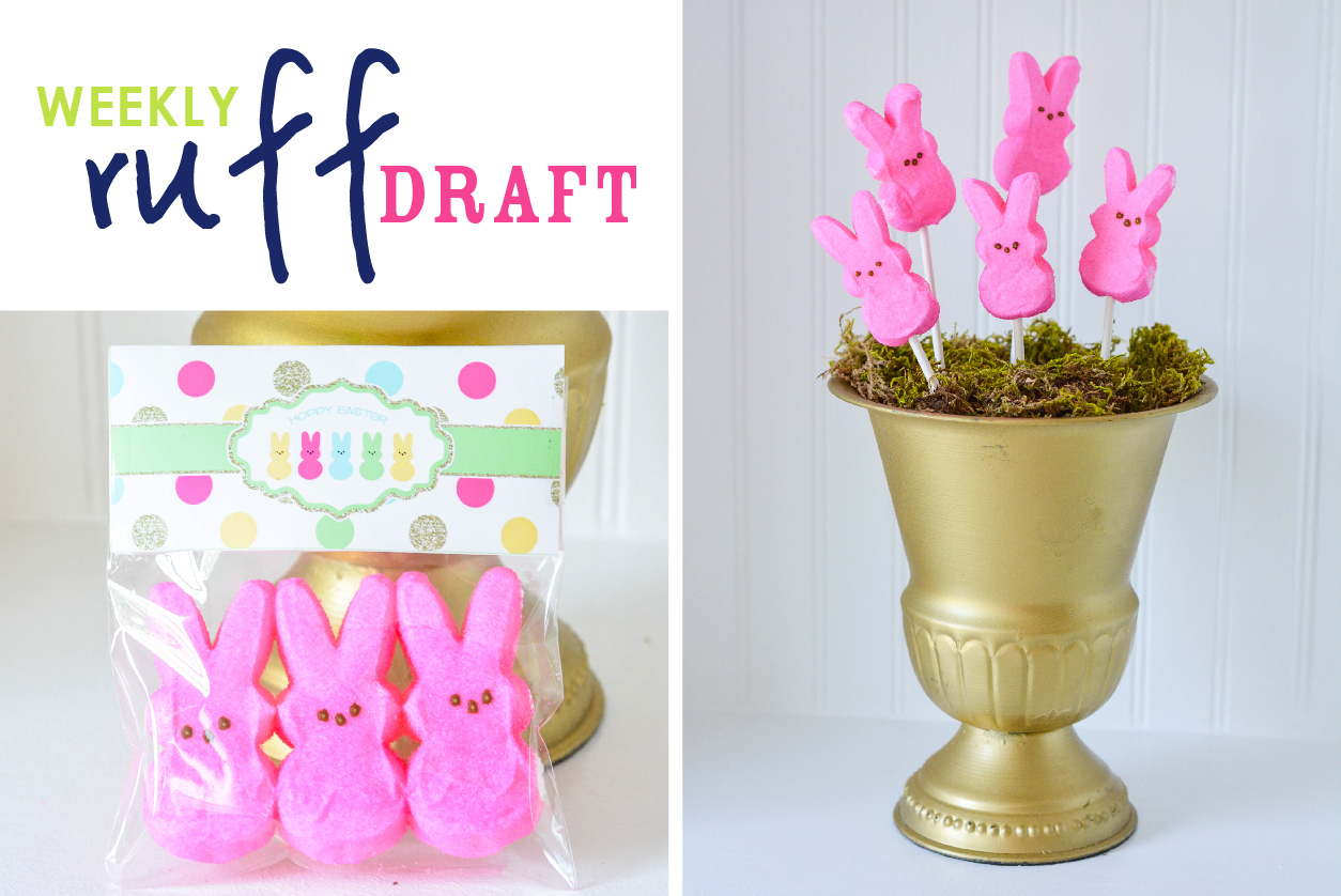 Easter Peeps with printable bag toppers and urn display