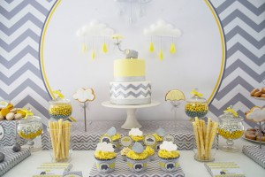 elephant baby shower dessert table