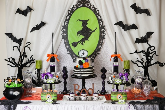 wicked witch halloween party dessert table