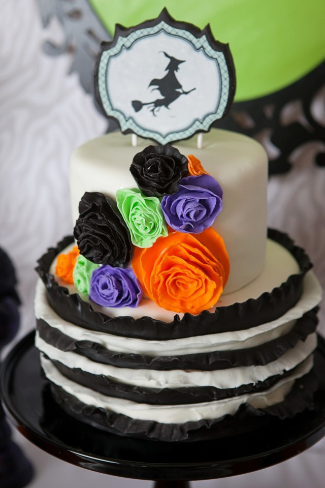 wicked witch halloween party ruffle cake