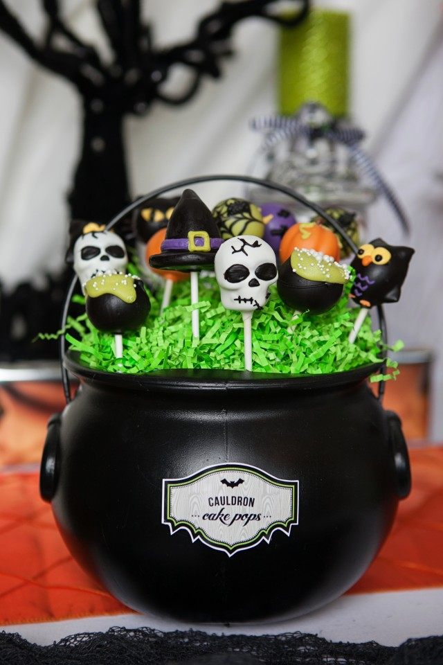 wicked witch halloween party cauldron cake pops