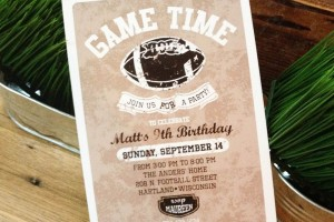 vintage football party invitation